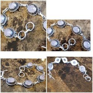 "Jewelry - Genuine Natural Rose Quartz Bracelet 8.5"""